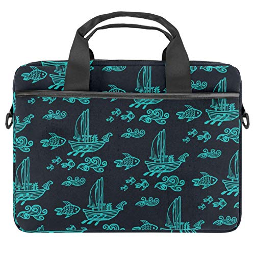 13.4'-14.5' Laptop Case Notebook Cover Business Daily Use or Travel Ship Boat Pattern Fish Dark Background