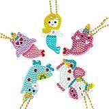 VETPW 5 Piezas 5D DIY Sirena Unicornio Colgante Llavero Pintura Diamante, Doble Cara Diamond Painting Keychain Kit Completo Punto de Cruz Diamante Arts Crafts para Monedero Mochila Bolso Decoración