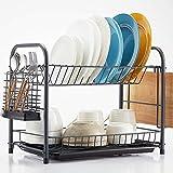 NATUROUS Dish Rack, 2 Tier Dish Drying Rack Kitchen Organizer with Drain Board,...