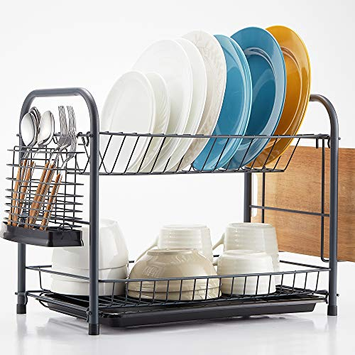 NATUROUS Dish Rack, 2 Tier Dish Drying Rack Kitchen Organizer with Drain Board, Utensil Holder, Cutting Board Holder, Gray