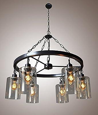 "31"" Wagon Wheel Mason Jar Filament Glass Chandelier, Metal Art Vintage Industrial, Iron Frame, Steel Arts Edison Bulbs, Matte Black Finish Ceiling Light Fixture, Pendant Light Lamp"