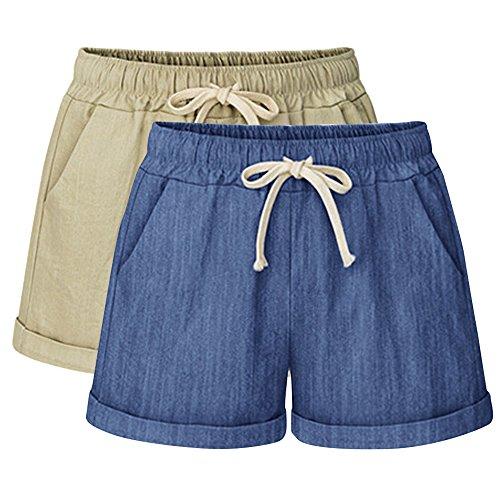 Women's Drawstring Elastic Waist Shorts Casual Comfy Beach 2 Pack Khaki Chambray Tag 4XL-US 16