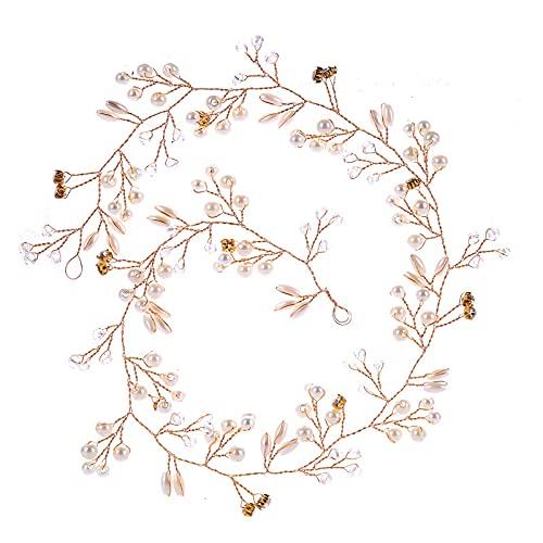 Slience Diadema para el pelo de boda para mujer con perlas y diamantes de imitación, joyas de novia, diademas de cristal, accesorios para vestido de novia, cintas para el pelo (dorado, 50 cm)