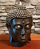 RK Collections 6' Meditating Buddha Bust Head Statue in Elegant Black with Bronzed Finish. Premium Statue Made of Marble Powder.