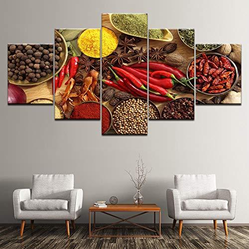 FHSFFS canvasdruk, wooncultuur, wandkunst, poster printen, 5 panelen, lepel, korrels, specerijen, paprika, canvas, schilderwerk, keuken, modulair Hd Food afbeelding, prints op canvas