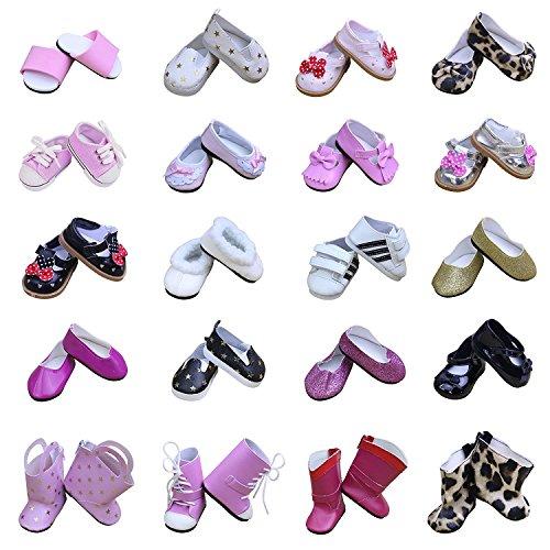 ZITA ELEMENT Zapatos de Muñeca-5 Pares Varios Zapatos de Fiesta de Surtido- para 18 Pulgadas American Girl Doll y Otras de 18 Pulgadas Muñeca