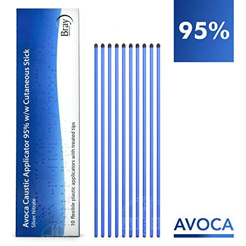 AVOCA Lápiz Cáustico de Nitrato de Plata al 95% para eliminar Verrugas Mezquinos y Tejidos (Paquete de 10 aplicadores flexibles)