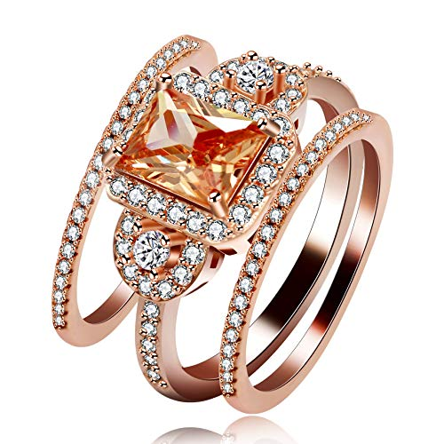 Uloveido Versprechen Verlobungsring für ihre Braut Set 3Pcs Hochzeitsband für Frauen Rose Gold Plated Rechteck schneiden CZ Ringe für Lady Girl, Beste Weihnachtsschmuck Geschenk (Größe 59) Y434