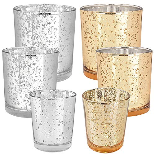 Just Artifacts 6pc Assorted (Size,Color) Mercury Glass Votive Tealight Candle Holder Set - Mercury Glass Votive Tealight Candle Holders for Weddings, Parties, and Home Dcor