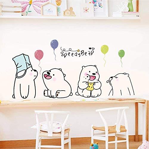 50 * 70 Cm Pvc Lazy Bear Etiqueta De La Pared Plana Etiqueta De La Habitación De Los Niños Lindos Escalera Móvil Gabinete Arte Mural Papel Tapiz De Jardín De Infantes