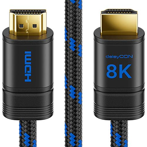 deleyCON 0,5m 8K UHD-II HDMI 2.1 Nylon Kabel 4320p 2160p 8K@60Hz 4K@120Hz 7680x4320p Metallstecker Dolby DTS HDR ARC CEC HDTV Ethernet