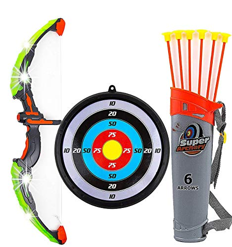 Toysery Bow and Arrow for Kids with LED Flash Lights - Archery Set with 6 Suction Cups Arrows, Target, and Quiver, Practice Outdoor Toys Archery Set for Children Above 6 Years Old