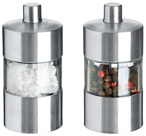 VEGA Mini-Salz-/Pfeffermühlen-Set Moreno, 8.5cm (H), silber/transparent, Korpus Edelstahl, Materialmix Acryl, Edelstahl, Keramikmühle 1 Set