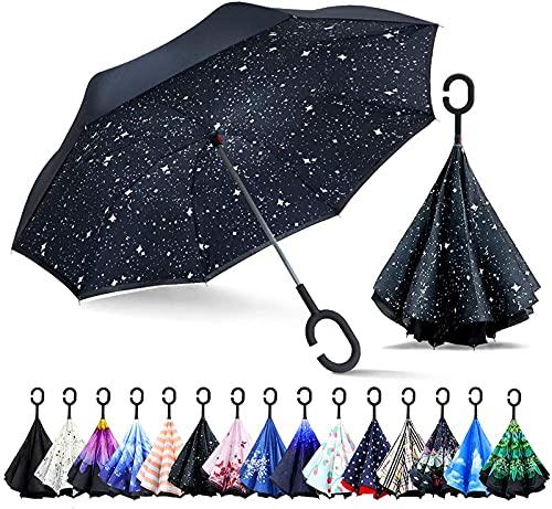 ASKI Paraguas invertido de Doble Capa, Paraguas Plegable inverso a Prueba de Viento, Mango en Forma de C, autosuficiente, invertido, Bolsa de Transporte de Manos Libres, Night Sky