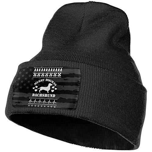 Bikofhd Gorro ajustable Negro Slouchy Sombrero de punto Calavera Gorras - Merry Dogmas Dachshund
