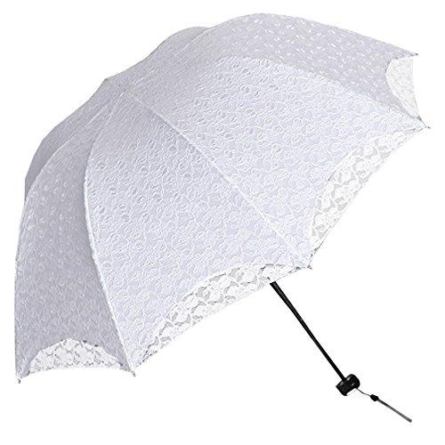 BOZEVON Damen Mädchen 100{385a7f641ea45304cf89a8ccc8ac756687b7b0fb231003f74d7f3d2a94061613} Polyester Spitze Faltbarer Regenschirm Sonnenschirm Manuell UV-Schutz Schirm für Outdoor Camping Fashion Geschenk (Weiß)