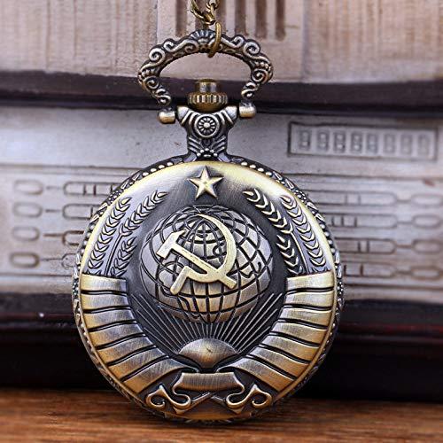 YHWW Taschenuhr Vintage UDSSR sowjetischen Abzeichen Sichel Hammer Bronze Anhänger Taschenuhr Halskette Kette Uhr Russland Emblem Kommunismus Unisex Uhr