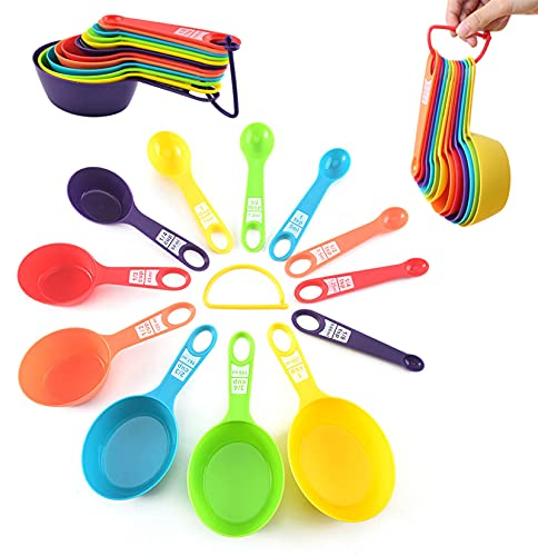 12Pcs Plastic Measuring Cup, 6 Colors Measuring Cups and Spoons Set, Adjustable Measuring Cup Set Cute Measuring Cups for Kids, Tablespoon Measure Spoon for Bake, Cook, Water, Milk Powder and Spices