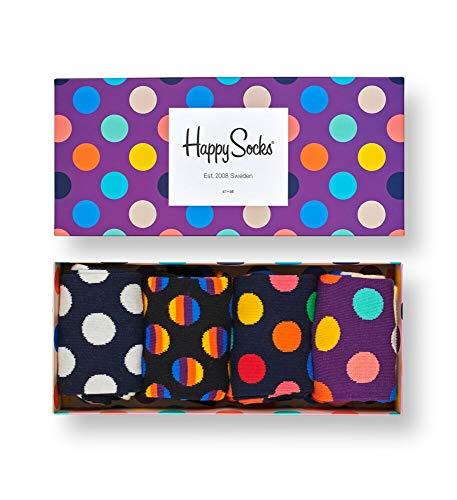Happy Socks Gemischt farbenfrohe Geschenkbox an Baumwollsocken für Männer & Frauen,Schwarz/Weiss (Dot),41-46 EU