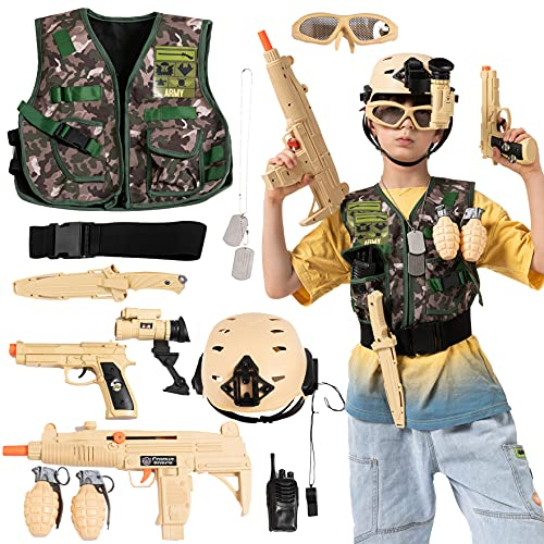 JOYIN 12 Pcs Army Costume Soldier Military Combat Marines Accessories Set for Halloween Costume Cosplay, Soldier Role Play Set for Kids, Deluxe Camouflage Dress Up and Birthday