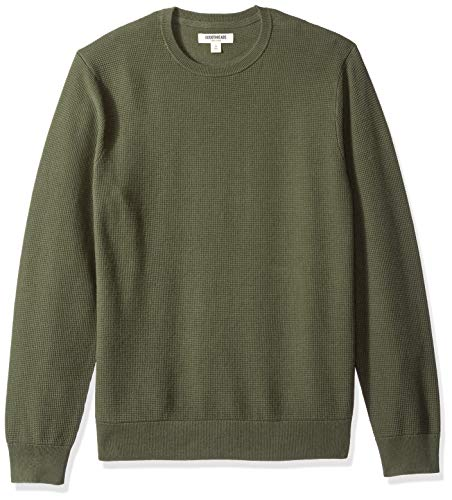 Amazon Brand - Goodthreads Men's Soft Cotton Thermal Stitch Crewneck Sweater, Solid Olive, Large Tall