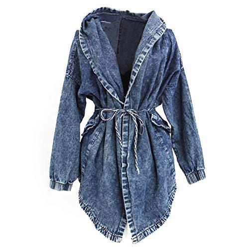 AMIYAN Damen Jeansjacke Parka Trenchcoat Kapuzen Pullover Jeans Mantel Jacket Pocho mit Kapuze Outerwear (Blau)