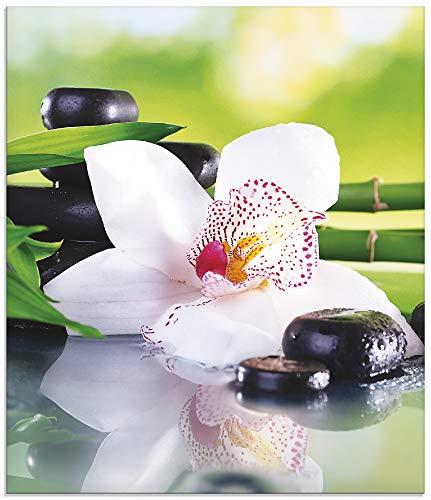 Artland Küchenrückwand Glas mit Motiv Spritzschutz 60x70 cm Design Asien Orchideen Blumen Blüte Natur Bambus Zen Steine Grün T9IQ