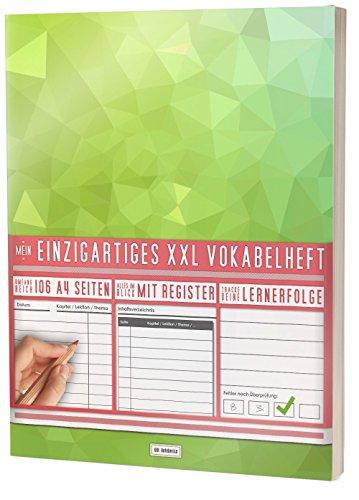 Mein Einzigartiges XXL Vokabelheft: 100+ Seiten, 2 Spalten, Register / Lernerfolge auf jeder Seite zum Abhaken / PR301