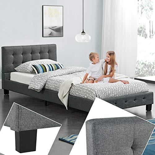 ArtLife Polsterbett Manresa 90 x 200 cm - Bett mit Lattenrost und Kopfteil - Zeitloses modernes Design, Grau