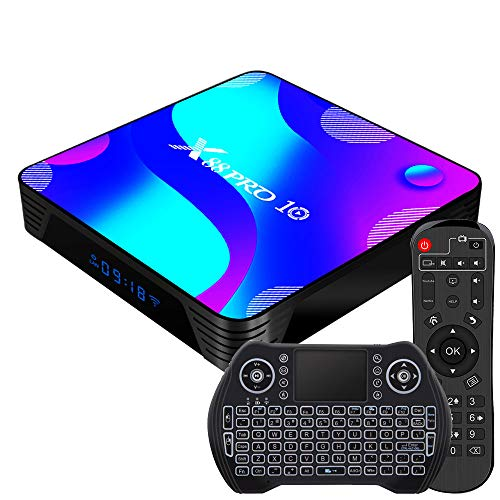 Android TV Box 11.0, [2021 Newest] RK3318 USB 3.0 Ultra HD 4K HDR 4GB RAM 32GB ROM 2.4GHz/5.8GHz Dual Band WiFi with BT 4.1 WiFi 100M Ethernet with Backlit Mini Keyboard Set Top TV Box