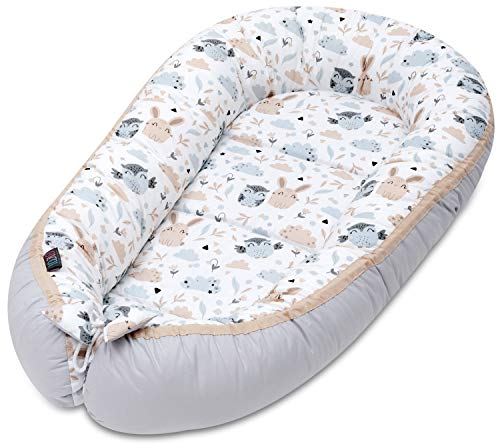 Lajlo Baby Nest Pod - 100% Cotton Double Side Newborn Cocoon Baby Bed Sleep - Travel Cot,Toddler Portable Bed with Hypoallergenic Breathable Cotton Foam Mattress & Easy Care (Animals)