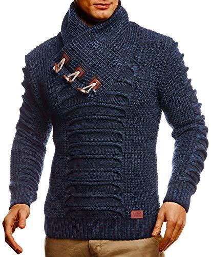 Leif Nelson Herren Strickpullover Pullover Schalkragen Slim Fit Männer Pulli Winter Slim Fit LN-5575 Blau Large