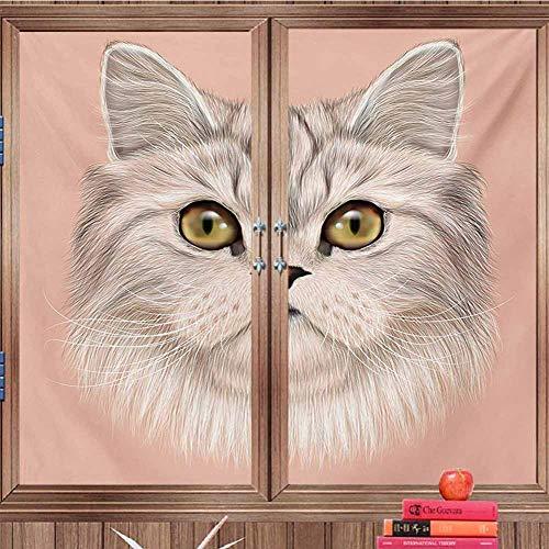 DearestLove Heat Control Window Film Cat,Cute Kitty Portrait Whiskers Best Pet Animal I Love My Feline Themed Artwork,Beige Cream Peach for Bathroom Office W24 xH33