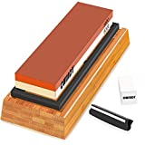 CWINDY 3000/8000 Grit Sharpening Stone Whetstone Knife Sharpening Stones Waterstones Wetstones Wet Stones Knife Sharpener Stones Angle Guide, Bamboo Base and Fix Stone Included