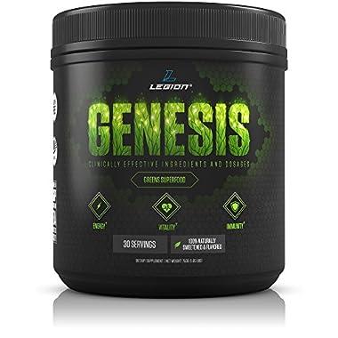 Legion Genesis Green Superfood Powder - With Spirulina, Dandelion, Moringa Oleifera, Maca Powder, Astragalus Root & Reishi Mushroom. All Natural Immune System Booster. Original Flavor, 30 Servings.