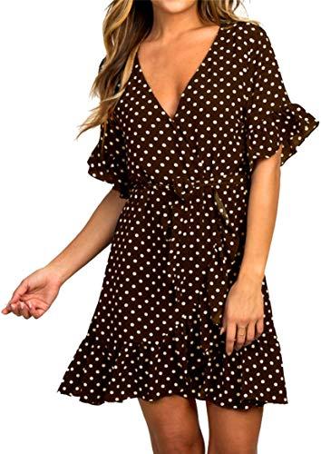 Sommerkleid Damen Kurzarm Elegant V-Ausschnitt Knopfleiste Polka Dot Kurze Strand Freizeitkleider mi Gürtel (2-Kaffee, Small)