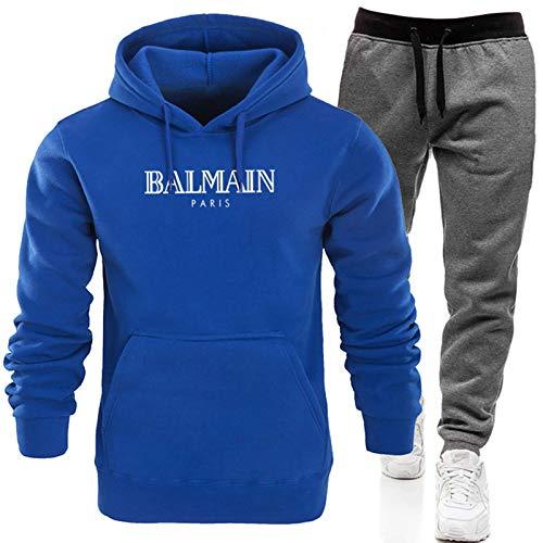 Conjunto completo de chándal para hombre, pantalones deportivos y sudadera con capucha, sudadera de manga larga + pantalones largos con (S-XXXL) azul 2-XXXL