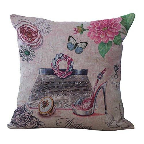 Hengjiang - Taie d'oreillers Housses de coussin en coton et lin romantiques au style européen - Pour canapé, décor maison, cadeau femmes/fille
