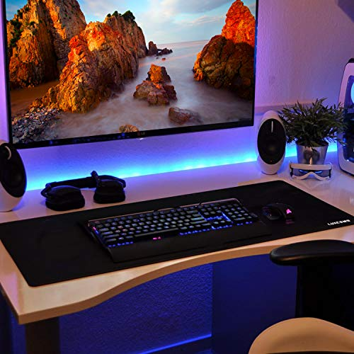 LUXCOMS Extended Gaming Mouse Pad (31.5×15.75×0.12 Inch) Computer Keyboard Mousepad Mouse Mat, Water-Resistant, Non-Slip Base, Durable Stitched Edges,Mouse Mat for Gamer, Office & Home, Black (LST080) Photo #5