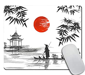 Amcove Japan Traditional Japanese Painting Sumi-e Bamboo Art Man with Boat Mousepad Non Slip Rubber Gaming Mouse Pad Rectangle Mouse Pads for Computers Laptop