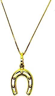 Collana Oro Giallo 18kt (750) Catenina Veneta Pendente Ferro di Cavallo Lucido Portafortuna Donna Ragazza Bambina