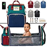 Pickery Products 3in1 Bassinet Baby Bed Crib - Travel Big Bag Diaper Bag for a Girl or Boy - Waterproof - Changing Station with Portable Crib Baby Sleeper - Red Blue Green (Color Block)
