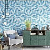 Modern Design Pattern Cercle Mur Livre Bleu Gris Beige Papier Peint Chambre Salon Meubles Décoration (10mx53cm) (Color : P03103)