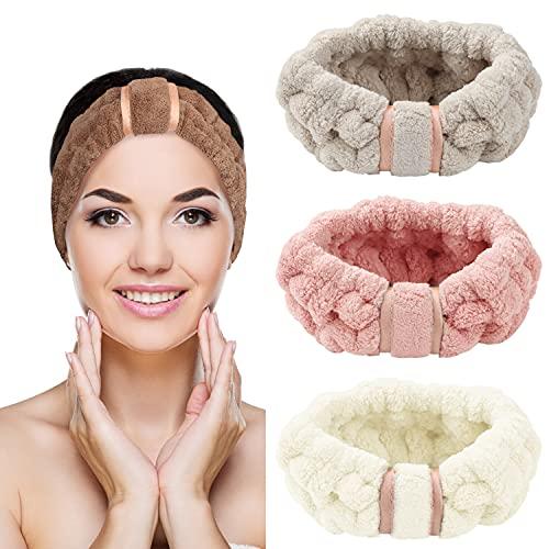 Belle Vous Diademas Mujer Microfibra Facial de Spa (Pack de 4) Diadema Maquillaje Vellón Coral Elástico para Chicas – Cinta Cabeza Ajustable para Cosméticos, Ducha, Limpieza Facial, Deporte y Yoga