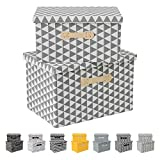 Enzk&Unity Foldable Lidded Storage Bins Cube Fabric Storage Basket with Handle Organizer Box Containers for Shelf Home Office Closet Nursery, 2 Pack, Grey