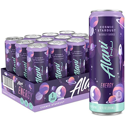 Alani Nu Sugar-Free Energy Drink, Pre-Workout Performance, Cosmic Stardust, 12 oz Cans (Pack of 12)