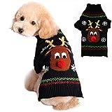 Hmpet Jerseys De Navidad para Perros, Prendas De Punto De Invierno Ropa De Navidad Abrigos Calientes Clásicos Suéteres De Punto De Cable, Negro,S