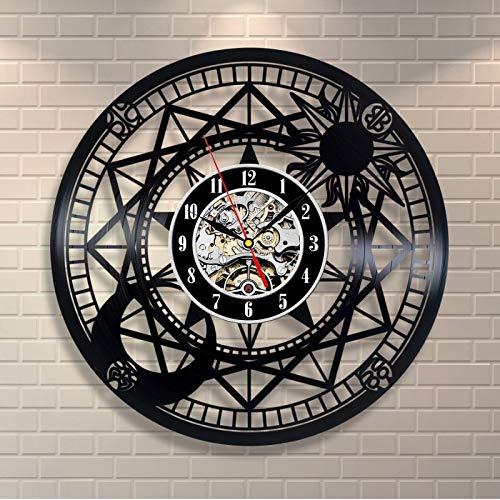 Enofvd Reloj de Pared de Vinilo con binoculares Huecos Vintage de decoración Creativa de Campana de grabación de gramófono de Vinilo artístico de astronomía de 12 Pulgadas