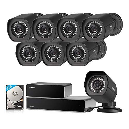 Zmodo CCTV 8 Kanal HDMI NVR 1080P Überwachungssystem 8*Überwachungskamera Set Full HD für Aussen/Innen mit sPoE Repeater, Bewegungsmelder, Wetterfest, 2TB Festplatte, Schwarz