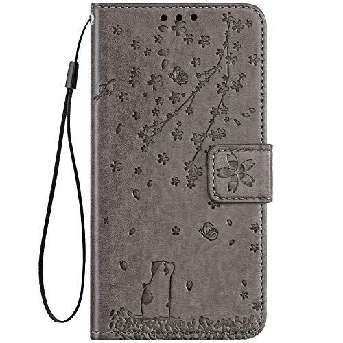 Hpory Custodia Galaxy J6 Plus 2018, Cover Samsung Galaxy J6 Plus 2018, Fiori Design Folio Flip Stile Pelle Libro Cover, Tinta Unita Grigio Cover con Supporto di Stand/Strap/Carte Slot, Fiori -Grigio